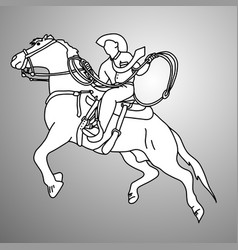 Businessman on bucking horse running with lasso vector