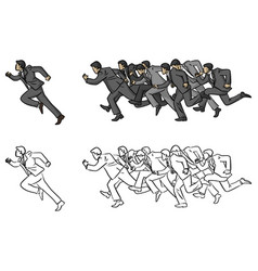 businessmen running following their manager vector image