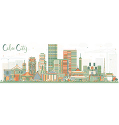 Cebu city philippines skyline with color buildings vector
