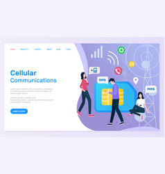 Cellular communication people with smartphones vector