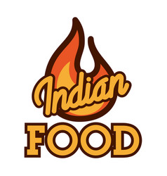 color vintage indian food emblem vector image