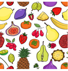 Colorful seamless pattern with fruits vector