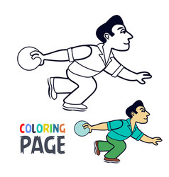coloring page with bowling player cartoon vector image