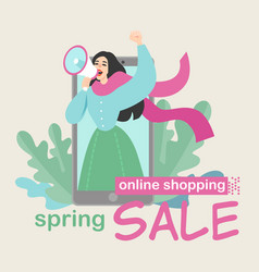 creative concept of online sales and advertising vector image