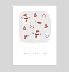 cute holly and jolly christmas greeting card vector image