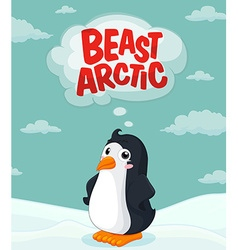 Cute penguin standing on ice vector