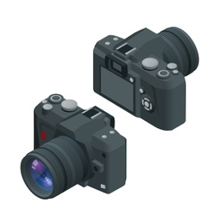 Digital photo camera SLR camera Flat 3d vector image