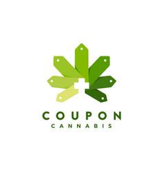 Discount coupon and medical cannabis logo icon vector