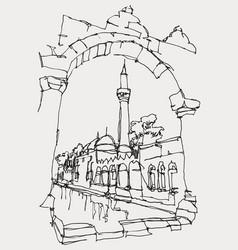 Drawing sketch balikligol in sanliurfa vector