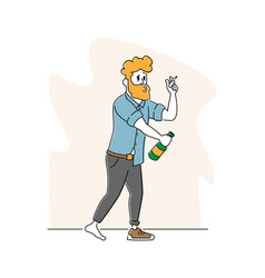 Drunk sleazy man in one shoe and sloppy clothes vector