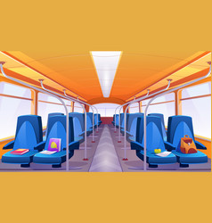 empty school bus interior with blue seats vector image