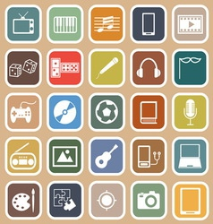 Entertainment flat icons on orange background vector image