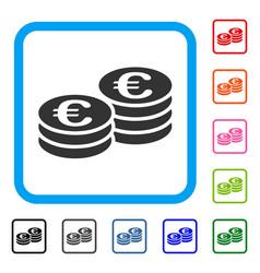 euro coins framed icon vector image