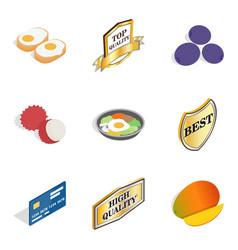 Exotic food icons set isometric style vector