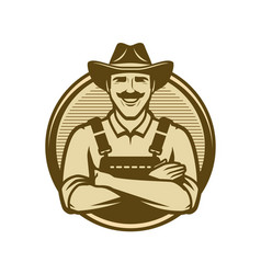farmer in hat vintage logo farm natural food vector image