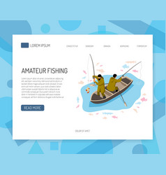 fishermen isometric web banner vector image
