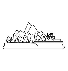 fishing boat on island in black and white vector image