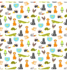 flat style colorful seamless pattern with home pet vector image