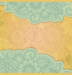 Floral henna indian mehendi grunge background vector image