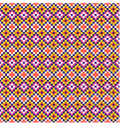 folk geometric seamless pattern pixel art and vector image