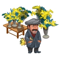 Funny man seller of mimosas character vector