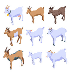 Goat icons set isometric style vector