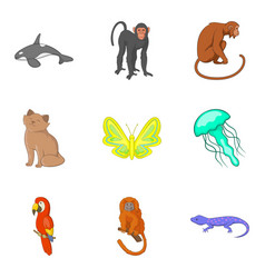 good animal icons set cartoon style vector image