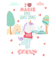greeting card with unicorn and lettering i like vector image