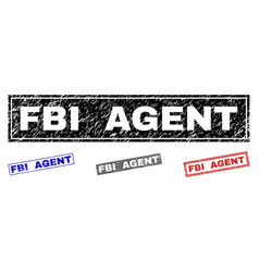 Grunge fbi agent scratched rectangle watermarks vector