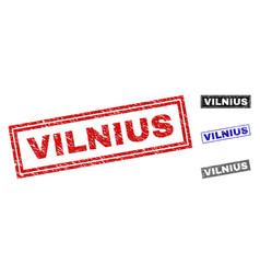 grunge vilnius scratched rectangle stamp seals vector image