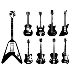 guitar silhouettes musical instruments black vector image