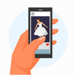 Hand hold mobile phone with video ballerina dance vector