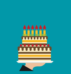 hand holding birthday cake flat vector image