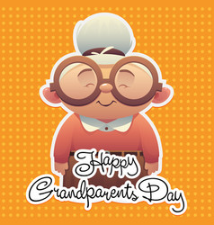 happy grandparents day background with cute vector image