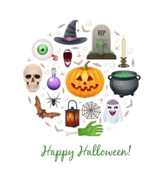 Happy Halloween elements formed in circle vector image