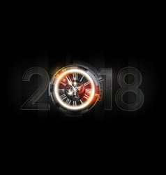happy new year 2018 celebration abstract clock vector image