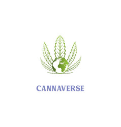 hemp cannabis and globe world logo design vector image