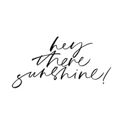 hey there sunshine handwritten black lettering vector image
