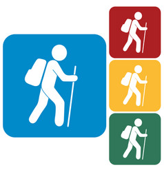 Hiking tourists icon vector
