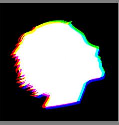 Human head shape with chromatic abberration effect vector