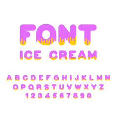 ice cream font sweetness alphabet liquid vector image