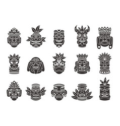 Idol mask black silhouette ritual totem tribal vector