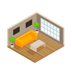 isometric interior of the lounge room - 3d vector image