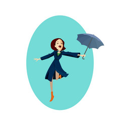 Lady in blue coat girl under red umbrella in the vector