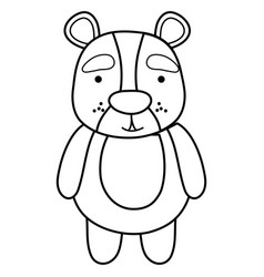 Line cute and surprised bear wild animal vector