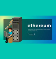 mining process of ethereum money poster vector image