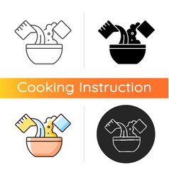 Mixing cooking ingredient icon vector