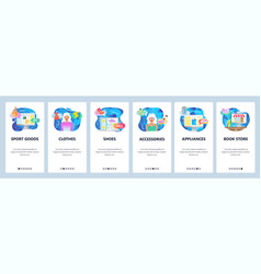 mobile app onboarding screens online shopping vector image