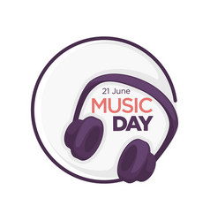 music day isolated icon headphones musical vector image