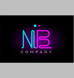 Neon lights alphabet nb n b letter logo icon vector